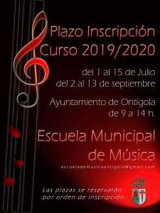Abierto el plazo de admisión para la Escuela Municipal de Música. Desde el 1 al 15 de julio