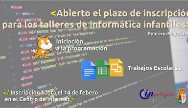 Inscríbe a los más pequeños en los talleres de informática del Centro de Internet. Trabajos escolares e iniciación a la programación