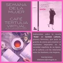 Cartel anunciador del Café Tertulia con motivo del Día de la Mujer 2021 de Ontígola